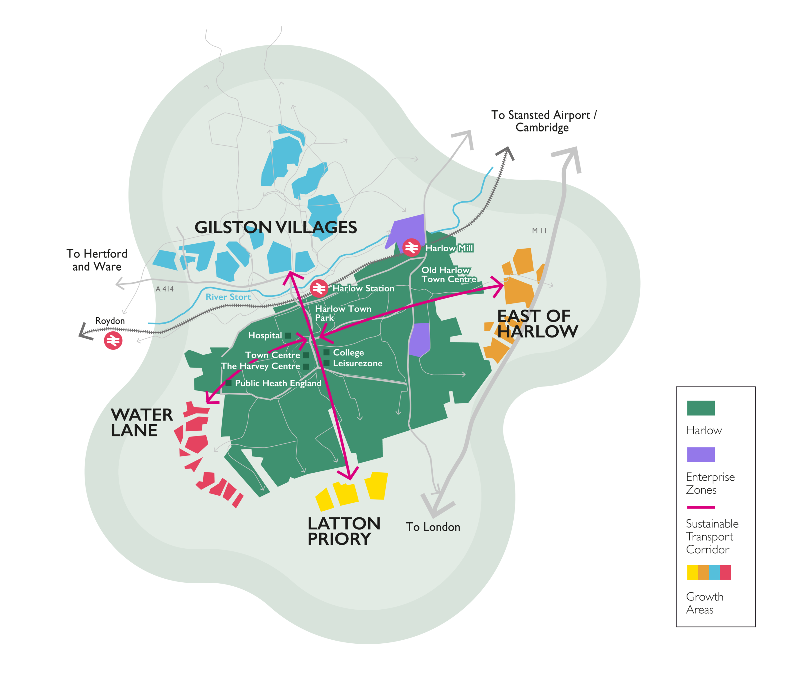Harlow and Gilston Garden town map showing the extent of the area included in the project